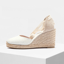Soft Ankle-Tie Women Shoes 9cm Wedge Closed Toe shoes Classic Espadrilles Heel in white and black color