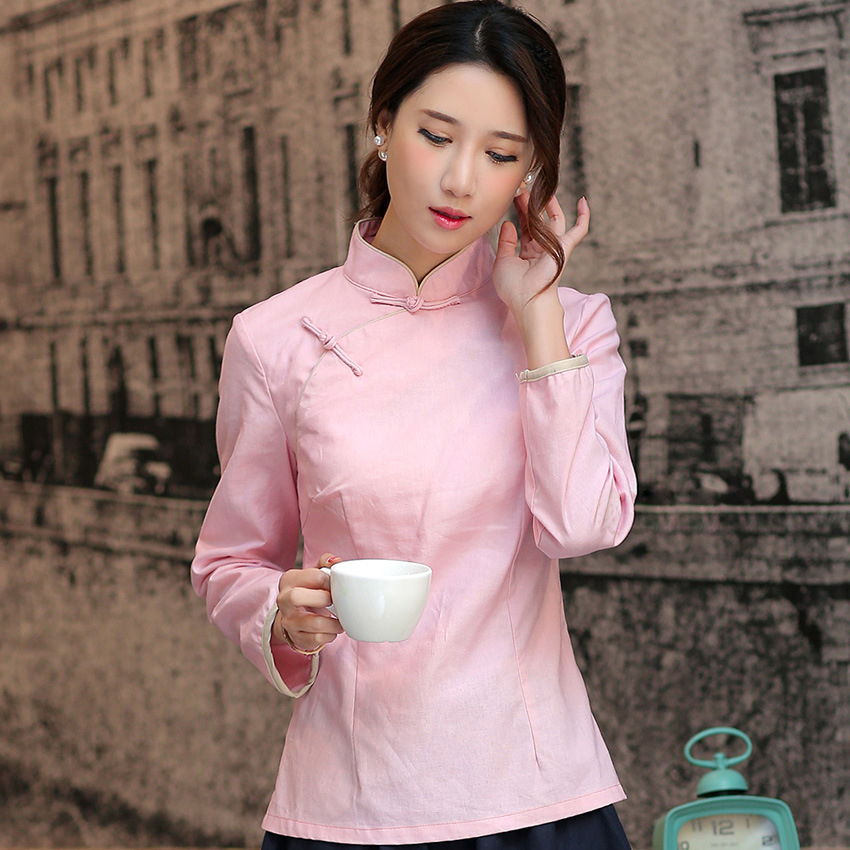 abf7e3d5b11dad Chinese Traditional Style Red Women Shirt Spring Autumn Full Sleeve Blouse  Mandarin Collar Cotton Linen Clothing S XXL -in Blouses & Shirts from  Women's ...