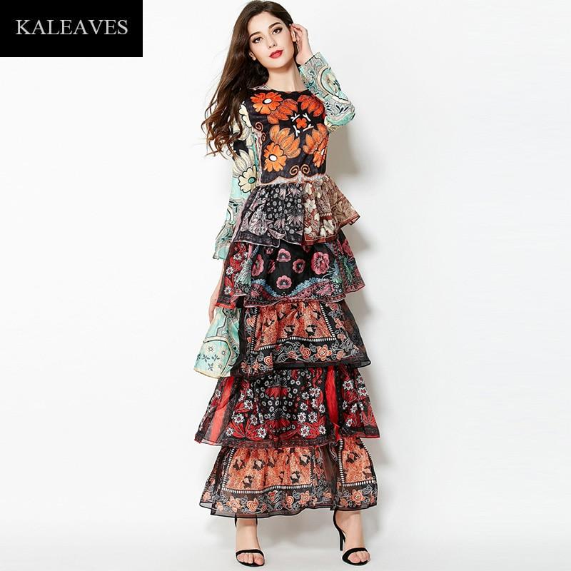 Runway Fashion Batik Dresses 2015 Women Spring Autumn Full