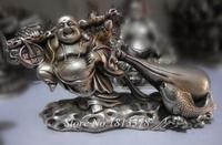 Old Collectible handmade rare Bring wealth of the Buddha Tibet Silver statue Tibetan Silver Bronze decoration