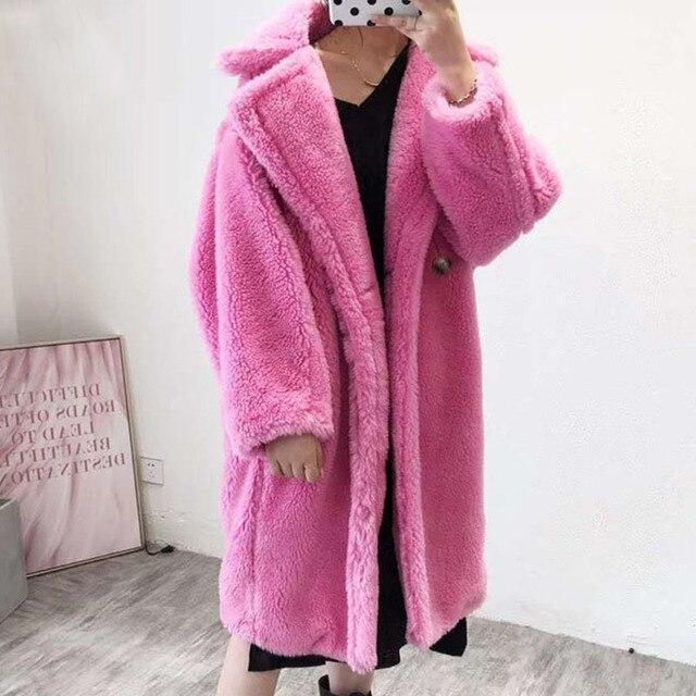 Real Wool Fur Coat Women Winter 2018 Teddy Bear Coat Thick Warm Sheepskin Jacket Plus Size Pink X-Long Natural Fur Overcoat