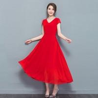 Plus Size 4XL 5XL Women Bohemia Beach Dress V Neck Chiffon Summer Dress Elegant Women Red Maxi Long Party Dress Vestidos C4506