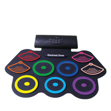 лучшая цена Portable Electronic Roll Up Drum Pad Set 9 Silicon Pads Built-In Speakers With Drumsticks Foot Pedals Usb 3.5Mm Audio Cable Uk
