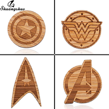 Shuangshuo Movie The Avenger Wood Brooches Pins Marvel Fans Captain America Jewelry Kids Broches T-shirt Badges Hat Pin