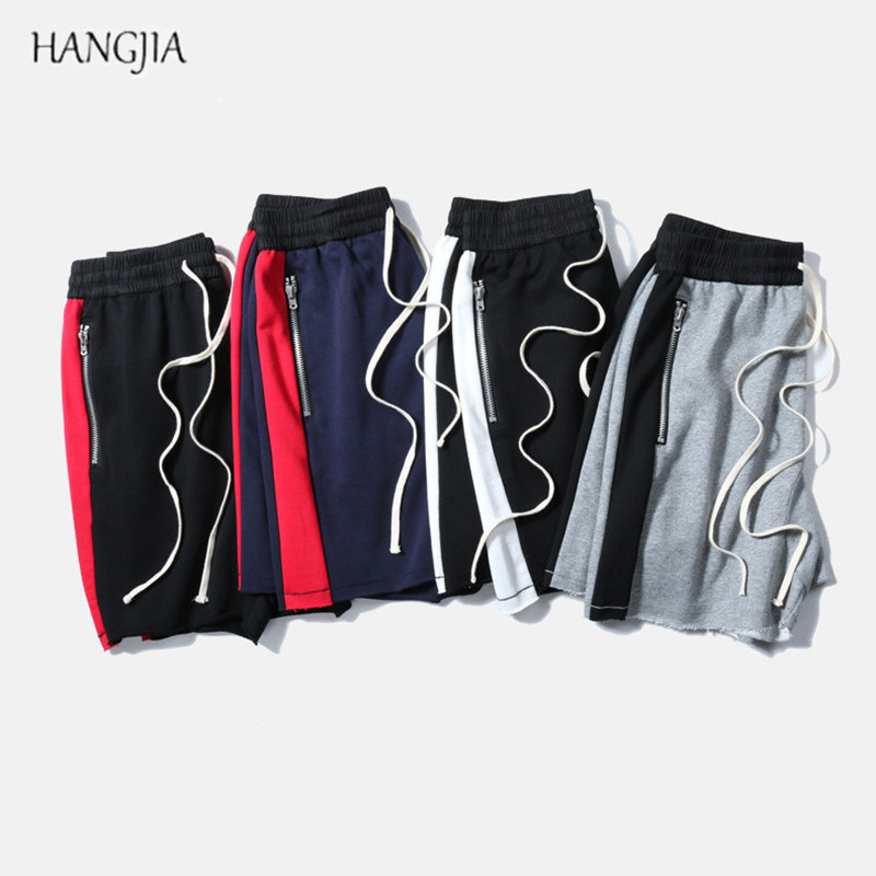 2018 Striped Patchwork Baggy   Shorts   High Street Tide Side Zipper Stretch Jogger Europe American Youth Fashion Men's Clothes