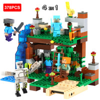 378pcs DIY Model Building Blocks Compatible Legoed Minecrafted City Sets Animal Action Figures 4 In 1