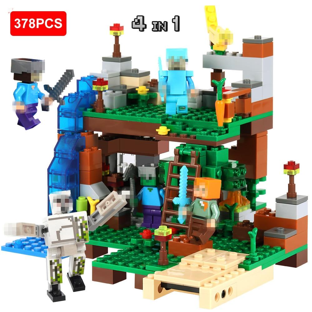 378 pz DIY Blocchi di Costruzione di Modello Compatibile Legoed Minecrafted Città Set Animal Action Figures 4 in 1 Bambini Giocattoli Educativi