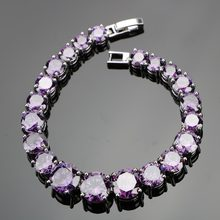 925 Sterling Silver 18CM Ladies Round Purple Gems Link Bracelets Sliver 925 Jewelry For Women Free Gift Box(Hong Kong,China)