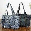Nueva Moda Vintage Girls Jeans Denim Mujer Bolsos de Señora de Bolsos Crossbody Mensaje Bolso de Hombro Del monedero carteira feminina