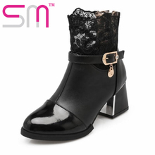 Top Sale 2016 Autumn Boots Breathable Lace Charm Shoes Woman Popular Hoof High Heels Shoes Fashion Design Ankle Boots