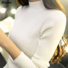 winter Korean short half turtleneck female sleeve head slim all-match loose students long sleeved bottoming sweaters Xnxee