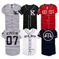 2016 Nuevo Último Rey LK 07 MISBHV KNYEW Rayada Camiseta de Béisbol Camisetas Mujeres de Los Hombres de Malla Con Cuello En V Jersey Hip Hop Calle Camisetas Tee