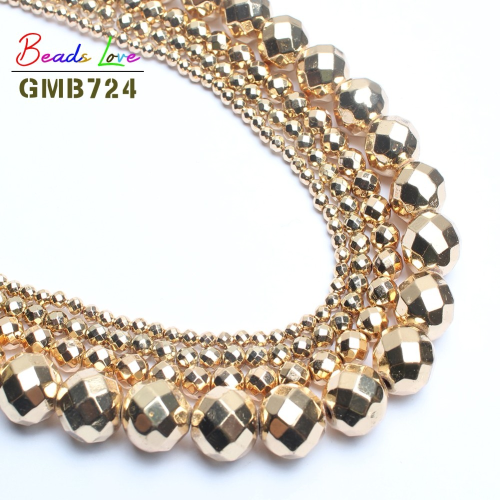 Natural Stone Bead Faceted Golds Plated Color Hematite Round Beads For Jewelry Making 2/3/4/6/8/10mm Handmade Diy Bracelet 15''