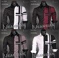2016 Jeansian Nuevo Diseñador de Moda Para Hombre Slim Fit hombre Vestido De Traje camisas Tops Regular Estilo Occidental Casual 4 Colores 5 Tamaños Z014