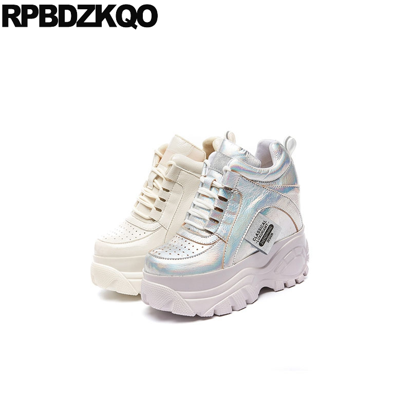silver thick sole luxury creepers platform shoes lace up breathable height increasing harajuku elevator muffin women round toe