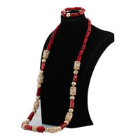 African Wedding Party Jewelry 45 Inches Wnie Red Men Coral Bead Necklace Set for Groom Male Coral Necklace Bracelet Set ABH795