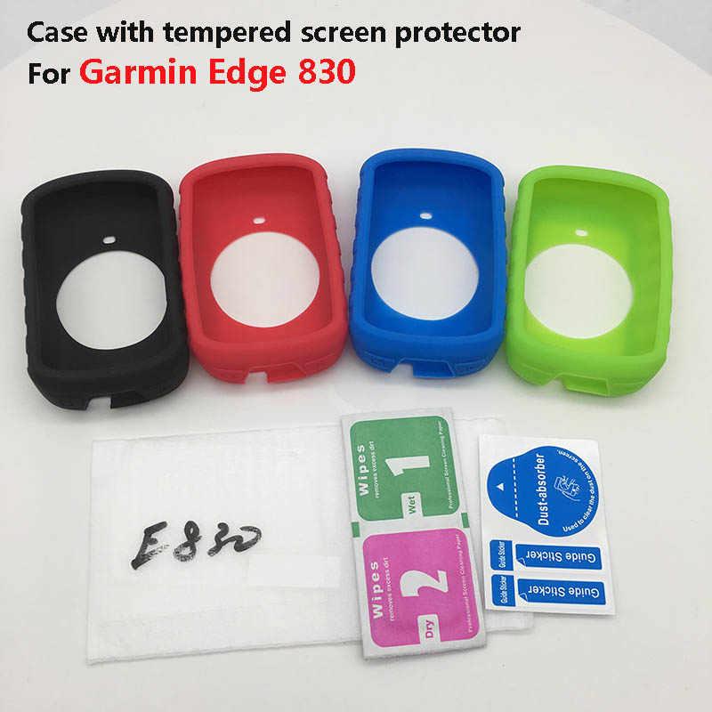 Genérico de la caja de la piel w película protectora de pantalla templada para Garmin GPS bicicleta garmin edge 130 de 510 más de 520 530, 830, 820, 1000