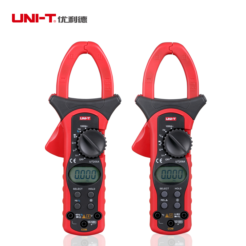 UNI-T UT205 UT205A UT206 UT206ATure RMS Auto/Manual Range Digital Handheld Clamp Meter Multimeter AC/DC voltage ACA Test Tool uni t ut205 ture rms auto manual range digital handheld clamp meter multimeter ac dc voltage aca test tool