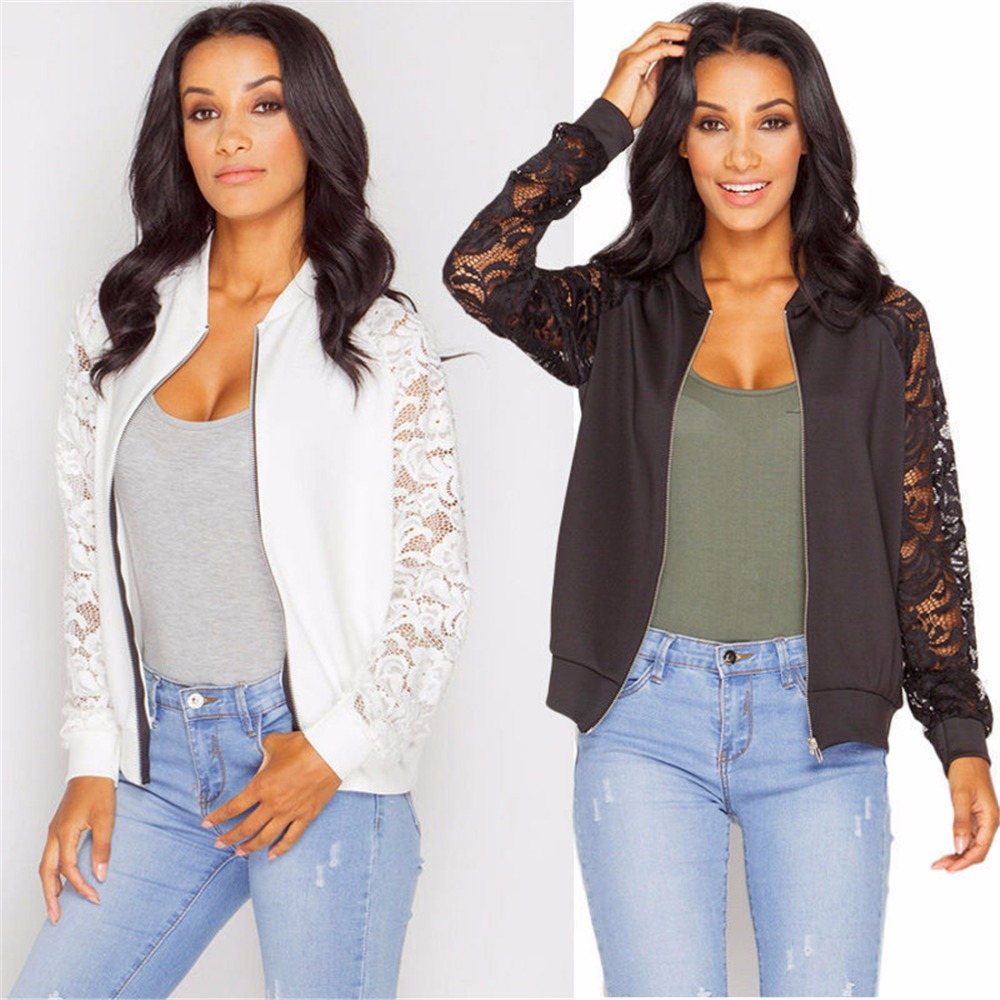 Fashion New Coats Lace Printed Bomber Jackets Women Long Sleeve Zipper Basic Hollow Out 2019 Spring Fashion New Coats Lace Printed Bomber Jackets Women Long Sleeve Zipper Basic Hollow Out 2019 Spring Perspective Short Coat