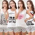 Camisa Outono Mulheres Pijamas Roupas Marca Famaily Treino Tops Sem Mangas Conjuntos de Pijama Noite Terno Sleepwear Calções Definido Feminino