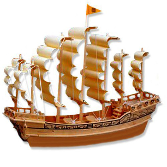 Ancient Sailboat In Ming Dynasty Wood Craft 3D Wooden Puzzle Construction DIY Kits Great Children Gift