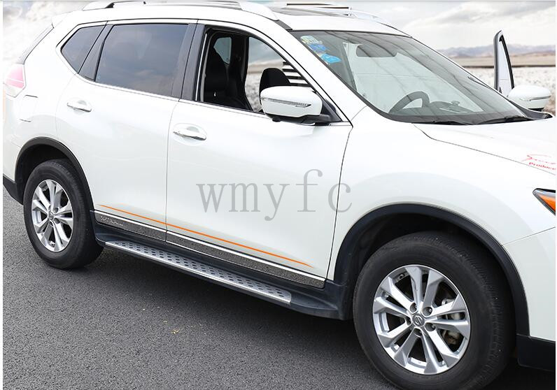 For Nissan X-trail xtrail T32/Rogue 2014 205-2017 car detector stainless steel Side Door Body trim stick Strip Molding 4pcs