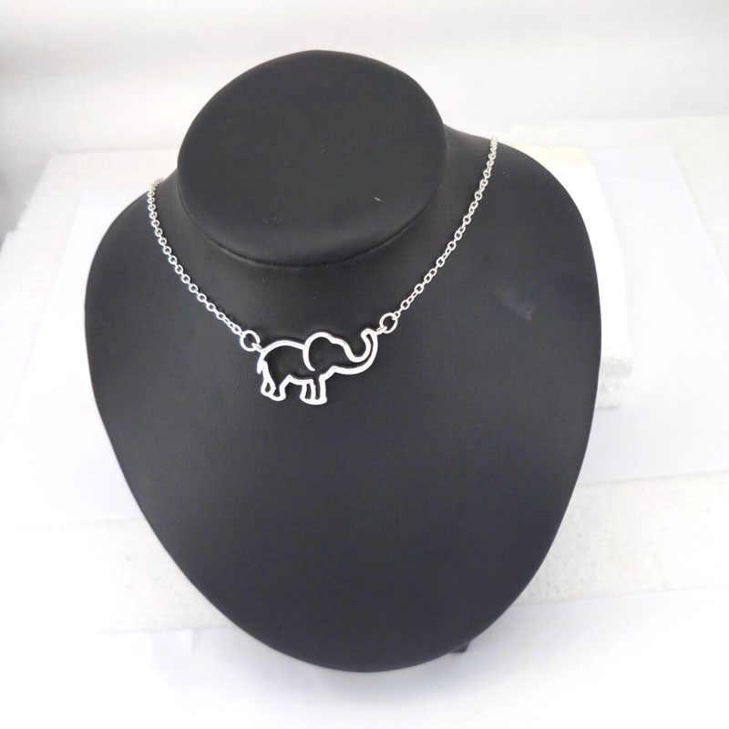 Hzew Collier Femme Ouro Cadeia Origami Elefante Pingente Colares Para As Mulheres Jóias Collares Largos De Moda Kolye
