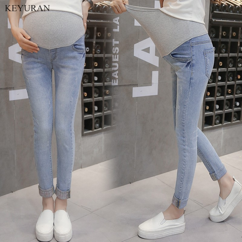 4a705fa240 Light Blue Cuffs Maternity Jeans Pregnancy Clothes Denim Overalls Skinny  Pants Trousers Clothing For Pregnant Women Plus Size