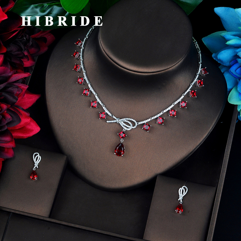 HIBRIDE Luxury Colorful Full Cubic Zircon Women Jewelry Set Dubai Earring Necklace Set Jewelry Accessories N-686 hibride luxury new butterfly shape earring necklace jewelry set women party jewelry small link pendant brincos bijoux n 643