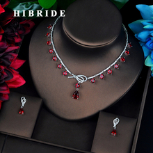 HIBRIDE Luxury Colorful Full Cubic Zircon Women Jewelry Set Dubai Earring Necklace Set Jewelry Accessories N 686