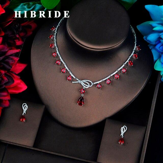 HIBRIDE יוקרה צבעוני מלא מעוקב זירקון נשים תכשיטי סט דובאי עגיל שרשרת סט תכשיטי אביזרי N 686