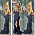 Top Sexy Sereia Vestidos de Noite 2017 com Side Slit Profundo Decote Em V Sheer Backless Cristal Chiffon Vestidos Vestido Formal