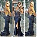 Top Sexy Sirena Vestidos de Noche 2017 con Cuello En V Profundo Escarpado Backless Raja Del Lado Gasa vestido de Crystal Vestidos Vestido Formal