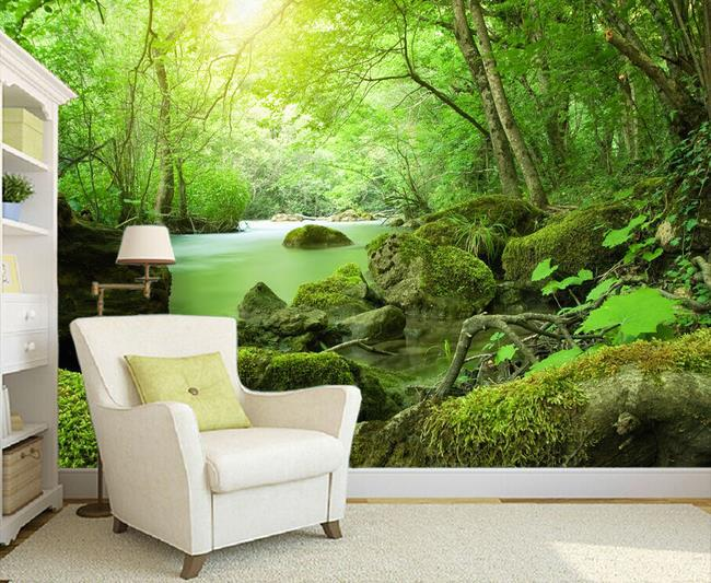Incroyable 3d Wallpaper European Minimalist Bedroom Living Room TV Backdrop Forest  Creek Stone 3D Stripes Abstract Mural Wallpaper 20155996 In Wallpapers From  Home ...