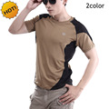 ESDY Summer Rangers Patchwork short Sleeve Sweat Breathable Combat Military Quick Dry O-Neck T Shirt Nylon High Stretch Tops