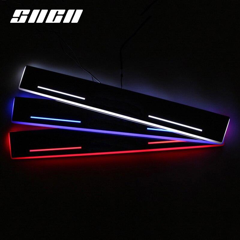 sncn guarnicao pedal led luz do carro do peitoril da porta placa de chinelo caminho dinamico
