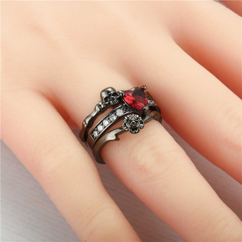 Skull Ring 2 Sets shiny charms Engagement Ring