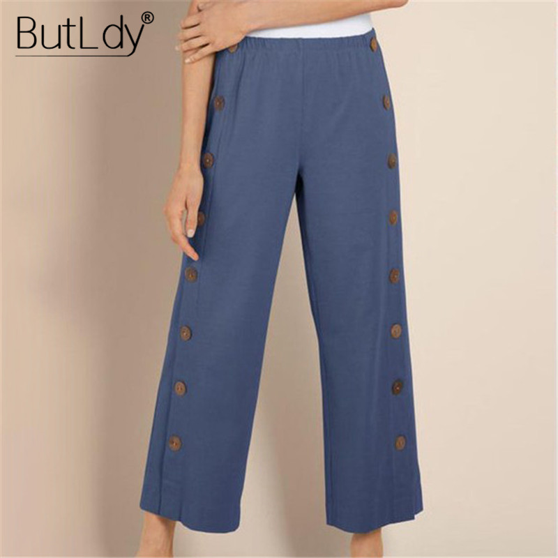 Button Side Wide Leg   Pants   Women Summer 2019 Casual Long   Pants   &   Capris   Bottoms Plus Big Size 5XL Loose Elastic Waist Trousers