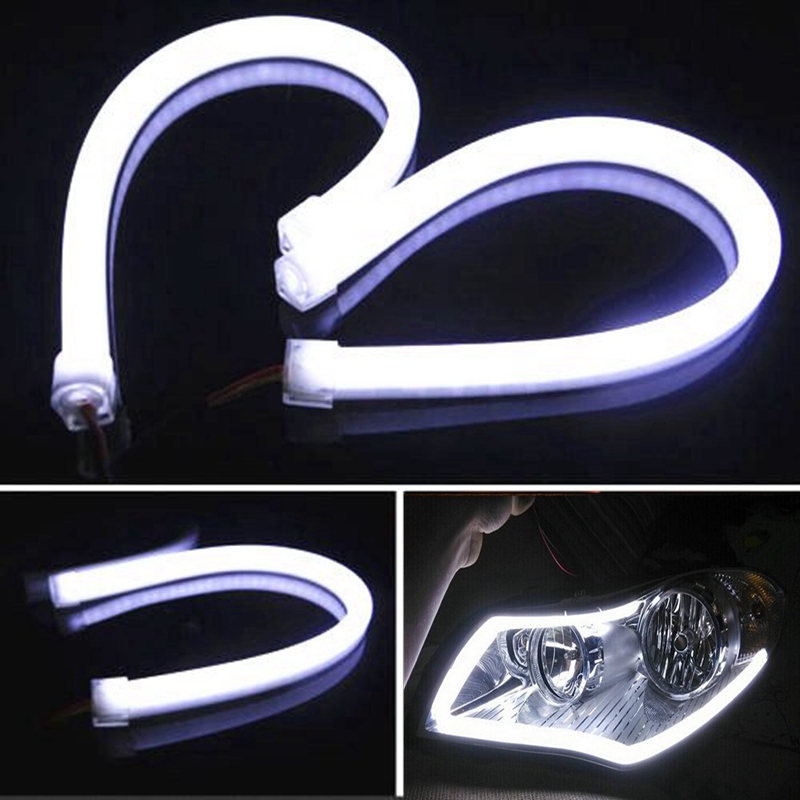 2Pieces 30cm Car LED Light Strip Daytime Running Light Angel Eye Flexible Fog White Light Car Signal Light Auto Parking Lamp 2pcs 45cm 10w auto car silicone tube style flexible strip light headlight angel eye drl led daytime running light lamp white 12v
