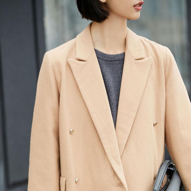 khaki Poches Solide Femmes 2018 Coat Femelle Causalité D'hiver Minimaliste De Trimestre Breasted Laine Double Manteau Coat Wool Veste Trois Amii Black 7HwWBAOq7