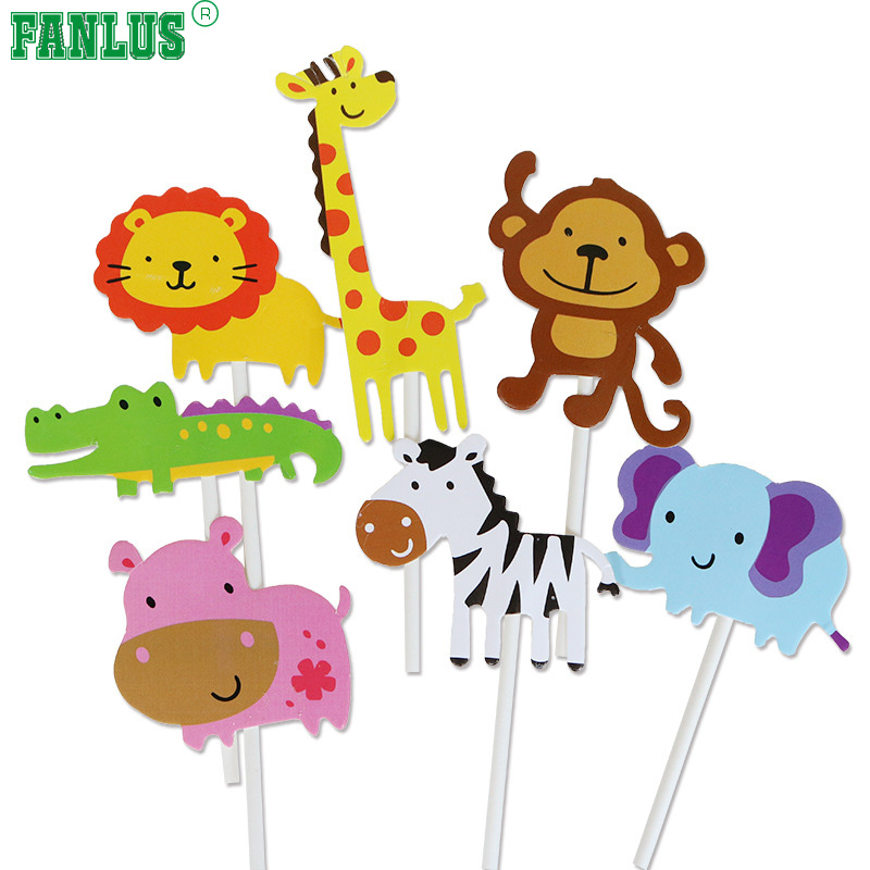 FANLUS Söt zoo djur Cupcake Toppers Picks, Jungle Animals Cake - Semester och fester