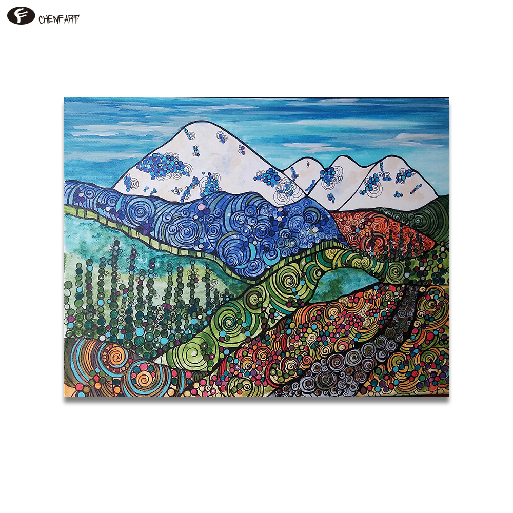 CHENFART Home Decor Wall Art Mt Baker And The Sisters Landscape Oil Painting For Living Room Canvas On
