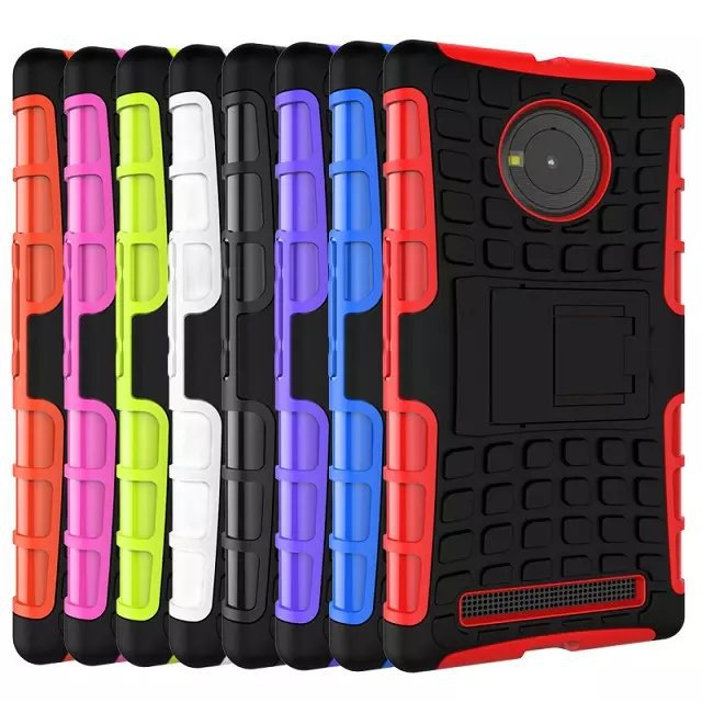 For Micromax Yu Yuphoria Case 5.0inch Hybrid Kickstand Rugged Rubber Armor Hard PC+TPU With Stand Function Cover Cases 30pcs