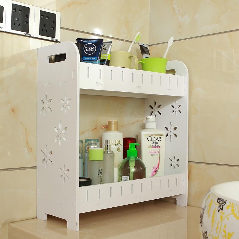 US $43.0 |Bathroom shelf cosmetic storage box vanity corner corner shelf  kitchen countertop finishing shelf LO829323-in Bathroom Shelves from Home  ...
