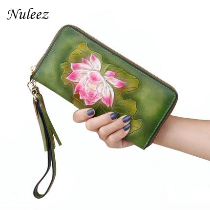 Nuleez genuine leather cowhide wallet women real leather chinese style hand carve man drawing artful unique purse for women 2018