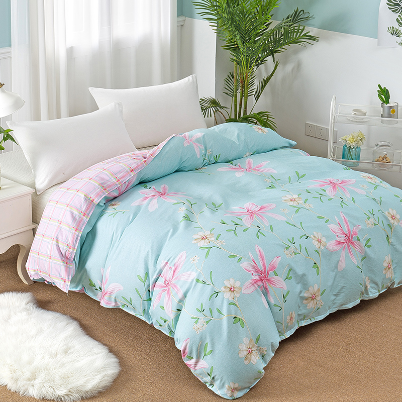 Pastoral style quilt cover blue pink plaid flower princesses duvet cover twin full queen king double size blanket cover bedding