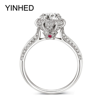 Romantic Queen Caroline Engagement Ring Solid 925 Sterling Silver Ring Jewelry 2 Carat CZ Diamond Wedding