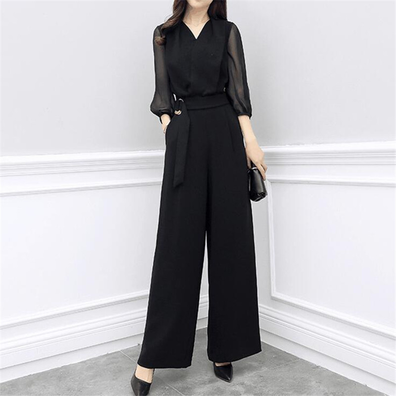 Chiffion Elegant Siamese Trousers Sashes High Waist Wide Leg Pants Casual Slim Siamese Pants Suits Female