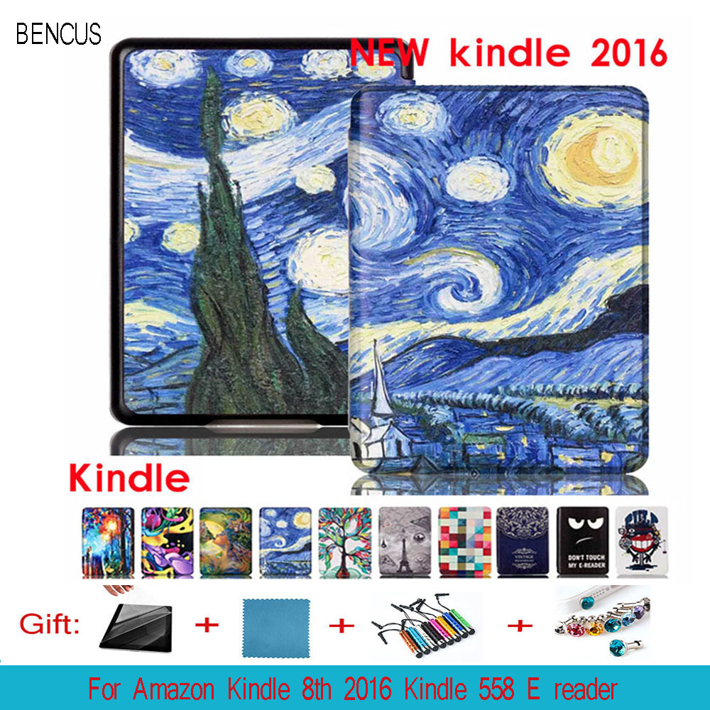 BENCUS Folio Stand Cover Flower Printing Pattern PU Leather Case Cover For Amazon Kindle 8th 2016 Kindle 558 E reader Tablet