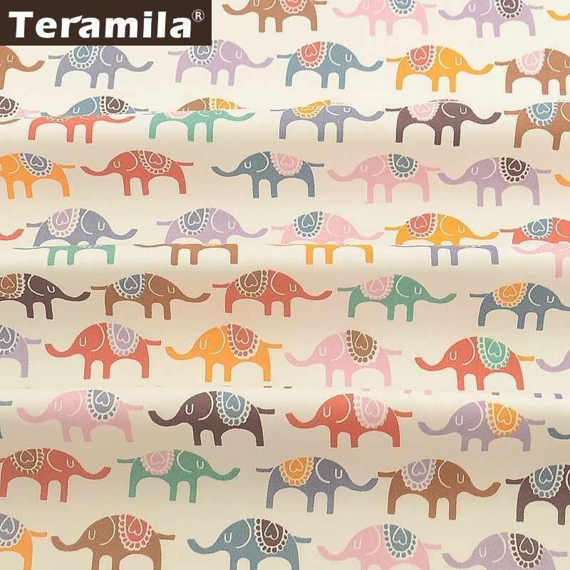 Teramila éléphant Animal Design 100% coton Tissu Telas Por métro bricolage Patchwork courtepointes robe maison Tissu drap de lit pour bébé enfants